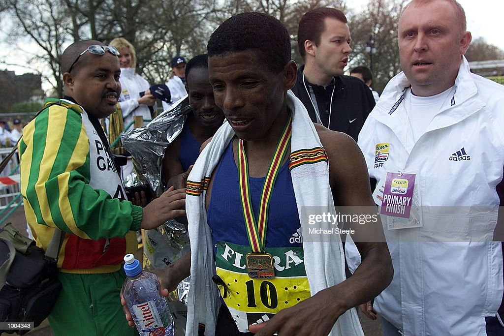 Haile Gebrselassie of Ethiopia after finishing third in the Flora London Marathon Elite Mens race London. DIGITAL IMAGE Mandatory Credit: Michael Steele/Getty Images