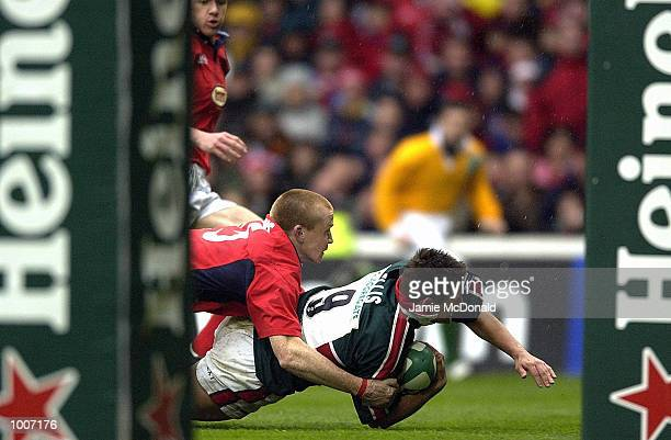 Harry Ellis of Leicester heads over to score a try during the Heineken Cup Semi Final match between Leicester Tigers and Llanelli at The City Ground,...