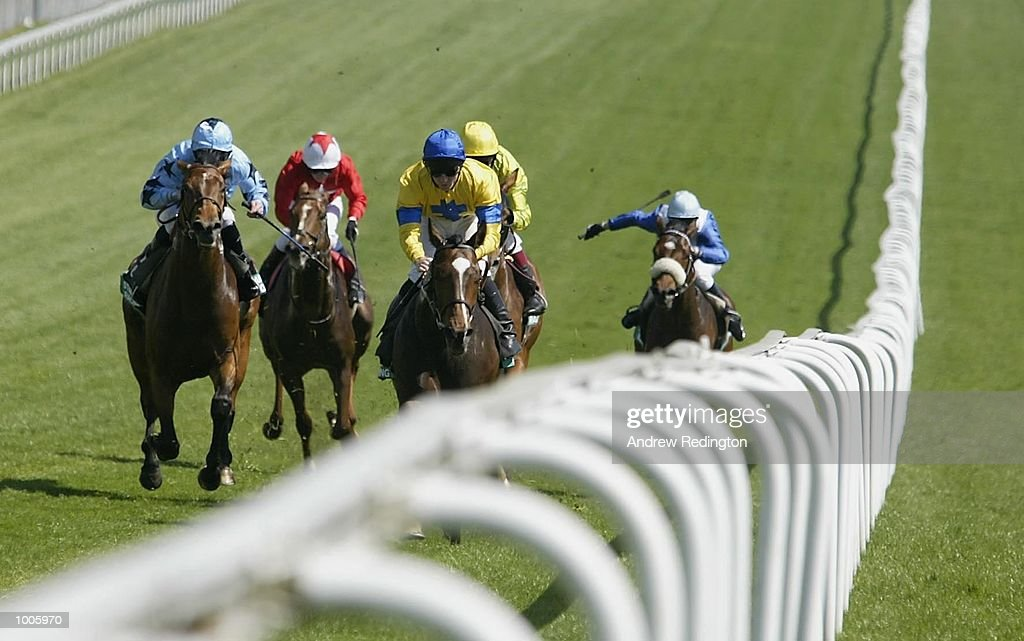 Jimmy Fortune riding Swing Wing comes home to land the Stanley Racing Blue Riband Trial Stakes at Epsom Race Course, Surrey. DIGITAL IMAGE Mandatory Credit: Andrew Redington/Getty Images
