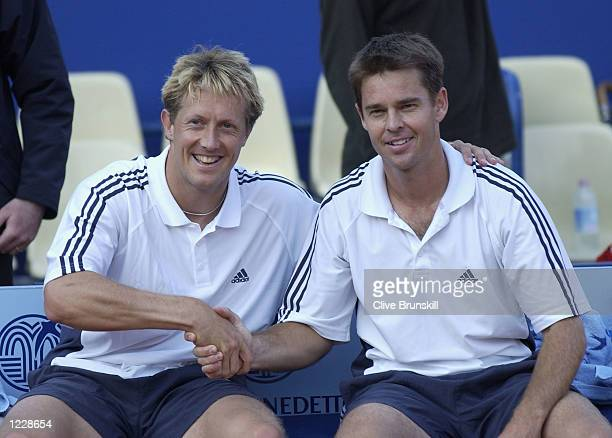Jonas Bjorkman and Todd Woodbridge after victory in their doubles final against Yevgeny Kafelnikov and Paul Haarhuis during the ATP Tennis Masters...