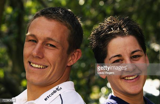 Jonny Wilkinson of England poses with England Women's star Shelley Rae during a training session held at the Pennyhill Park Hotel in Bagshot Surrey...