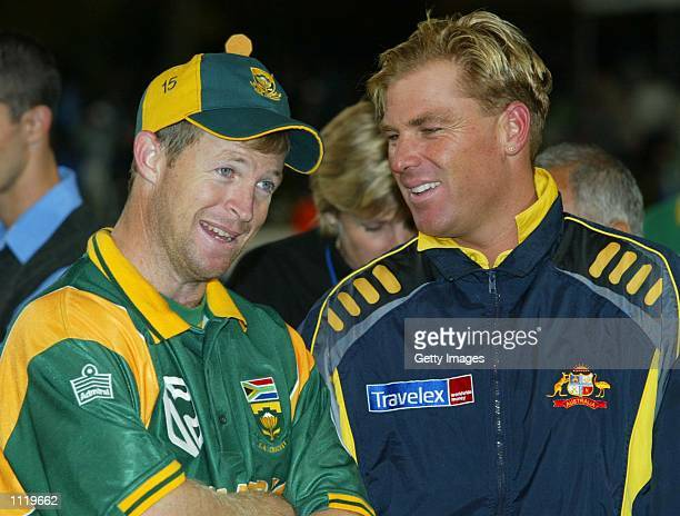 Jonty Rhodes South Africa and Shane Warne of Australia chat after the 7th ODI between South Africa and Australia played at Newlands Cape Town South...