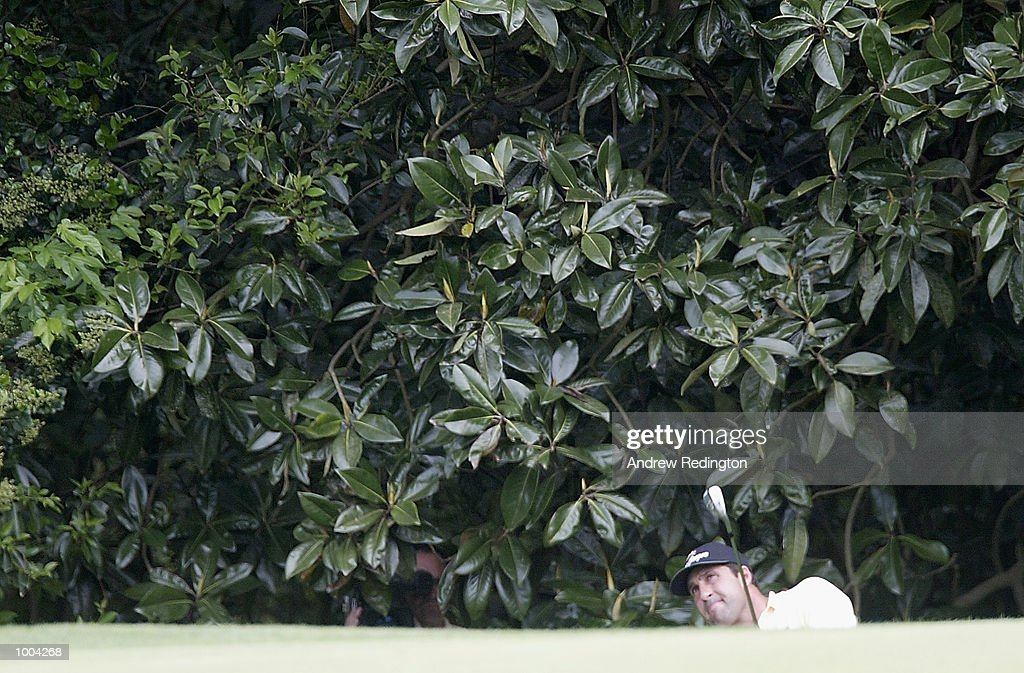 Jose Maria Olazabal of Spain plays out of the bushes on the fifth hole during the third day of the Masters Tournament from the Augusta National Golf Club in Augusta, Georgia. DIGITAL IMAGE. EDITORIAL USE ONLY Mandatory Credit: Andrew Redington/Getty Images