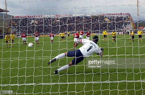 Jose Ze Maria of Perugia scores a penalty during the Serie A match between Perugia and Bologna played at the Renato Curi Stadium Perugia DIGITAL...