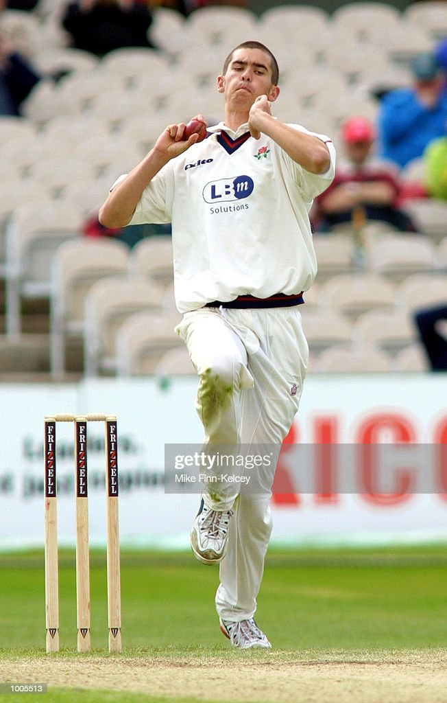 Karl Hogg of Lancashire in action against Leicestershire in the Frizzell County Championship match at Old Trafford, Manchester. DIGITAL IMAGE Mandatory Credit: Mike Finn Kelcey/Getty Images