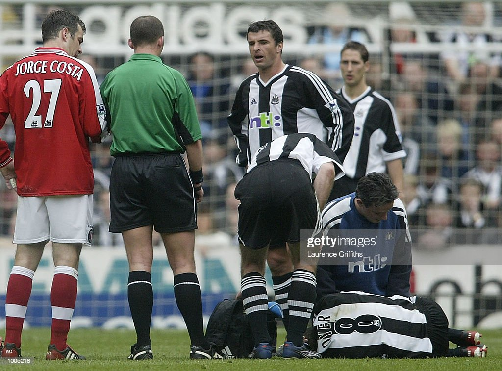 Kieron Dyer of Newcastle is treated for an injury during the Newcastle United v Charlton Athletic FA Barclaycard Premiership match at St James Park, Newcastle. DIGITAL IMAGE Mandatory Credit: Laurence Griffiths/Getty Images