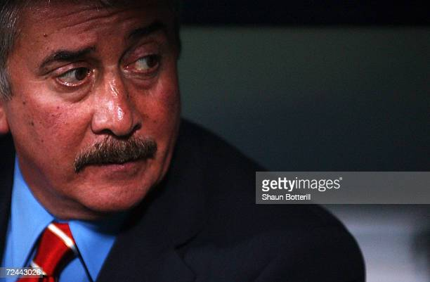 Liverpool chairman David Moores during the UEFA Champions League quarterfinal second leg match between Bayer Leverkusen and Liverpool played at the...