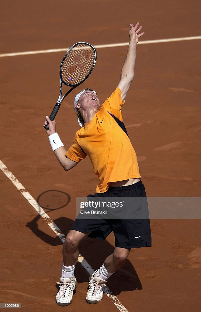 Lleyton Hewitt of Australia serves during his second round match against Marc Lopez of Spain during the Open Seat Godo 2002 held in Barcelona, Spain. DIGITAL IMAGE Mandatory Credit: Clive Brunskill/Getty Images