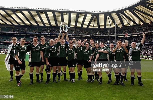 London Irish celebrates winning the Powergen Cup Final between Northampton Saints and London Irish at Twickenham London DIGITAL IMAGE Mandatory...
