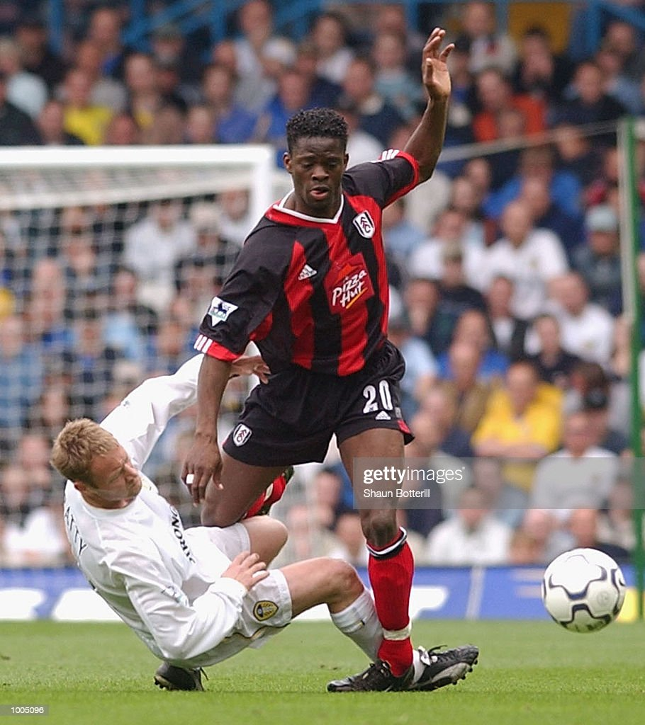 Louis Saha of Fulham is tackled by David Batty of Leeds during the Leeds United v Fulham Barclaycard Premiership match played at Elland Road, Leeds. DIGITAL IMAGE Mandatory Credit: Shaun Botterill/Getty Images