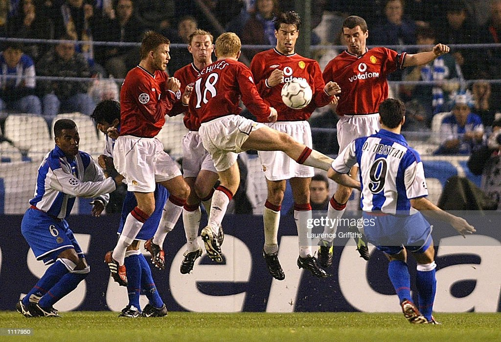 Manchester United defend a free kick from Diego Tristan of Deportivo during the Deportivo La Coruna v Manchester United UEFA Champions League Quarter Final 1st Leg match at the Estadio Municipal De Riazor in La Coruna, Spain. DIGITAL IMAGE.Mandatory Credit: Laurence Griffiths/Getty Images