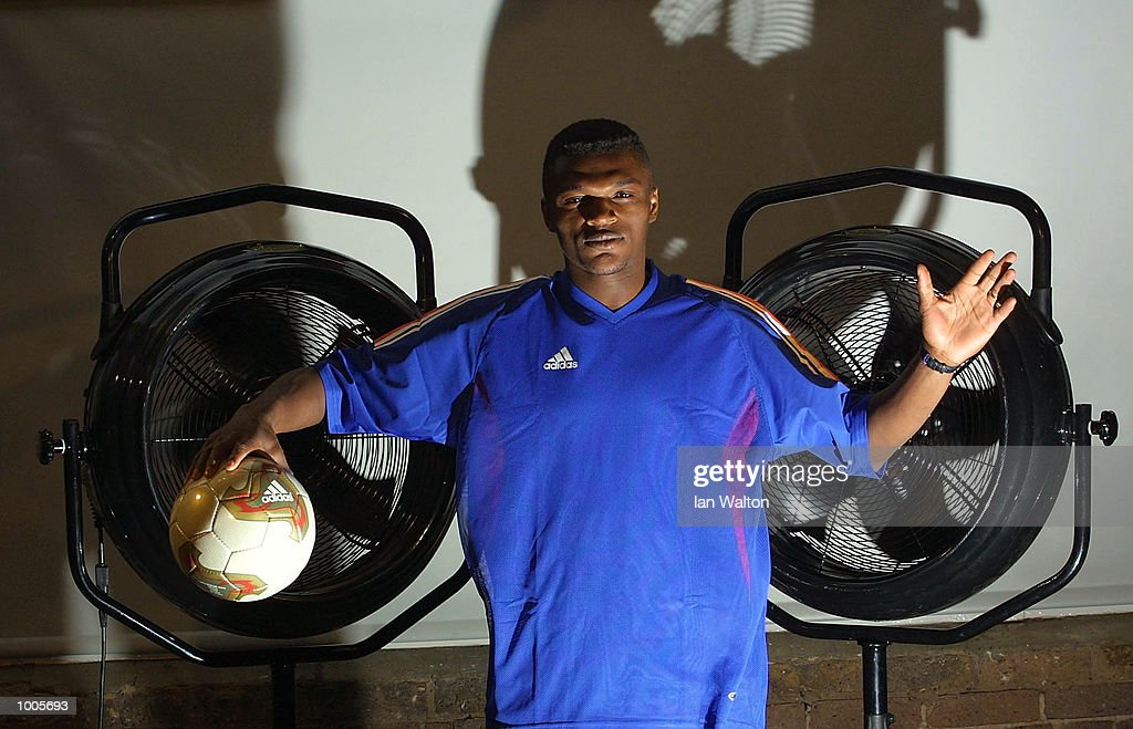 Marcel Desailly of France during the Adidas Kit Launch of the new French national kit in Govent Garden, London. DIGITAL IMAGE Mandatory Credit: Ian Walton/Getty Images
