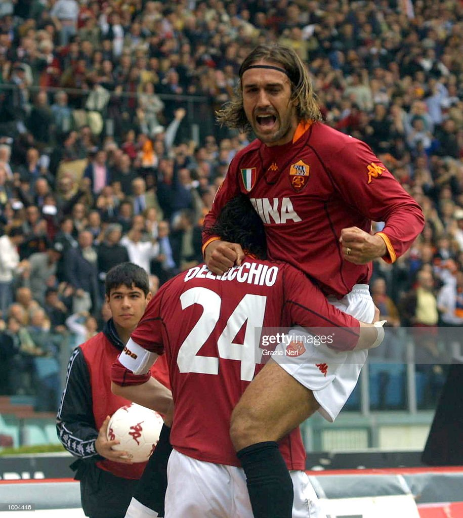 Marco Delvecchio and Gabriel Batistuta of Roma celebrate a goal during the Serie A match between Roma and Parma, played at the Olympic Stadium, Roma. DIGITAL IMAGE Mandatory Credit: Grazia Neri/Getty Images