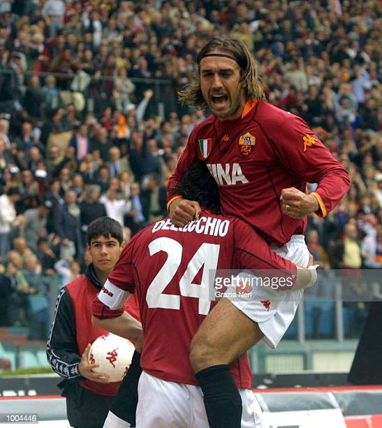 Marco Delvecchio and Gabriel Batistuta of Roma celebrate a goal during the Serie A match between Roma and Parma played at the Olympic Stadium Roma...