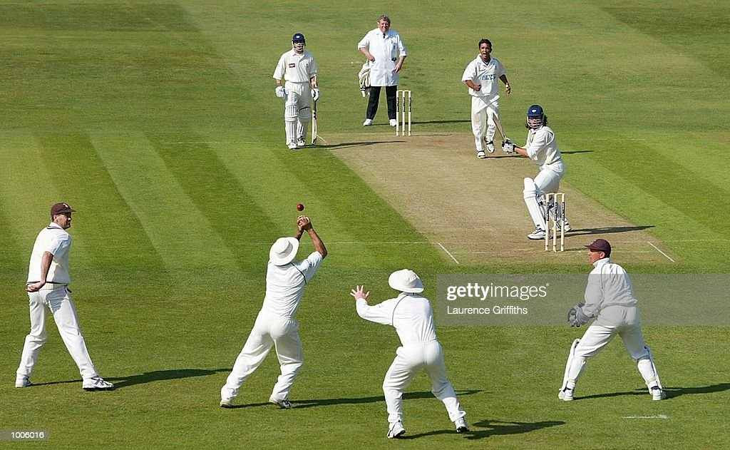 Mark Butcher of Surrey drops a slip catch off Ryan Sidebottom of Yorkshire during the Frizzell County Championship game between Yorkshire and Surrey at Headingley, Leeds. DIGITAL IMAGE Mandatory Credit: Laurence Griffiths/Getty Images