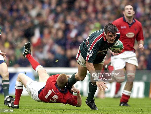Martin Corry of Leicester breaks the tackle of Garan Evans of Llanelli during the Heineken Cup Semi Final match between Leicester Tigers and Llanelli...