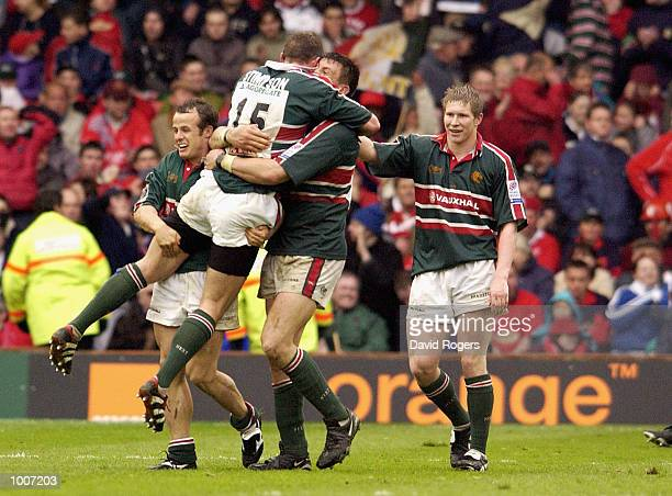 Martin Corry of Leicester celebrates their one point win with kicker Tim Stimpson during the Heineken Cup Semi Final match between Leicester Tigers...