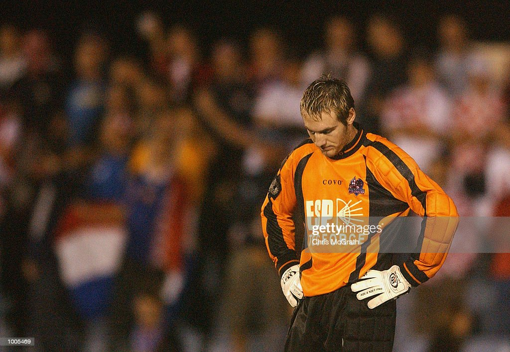 Martin John #1 of the Knights dejected after letting through a goal during the NSL Elimination Final between the Olympic Sharks and the Melbourne Knights held at Toyota Park, Sydney, Australia. DIGITAL IMAGE. Mandatory Credit: Chris McGrath/Getty Images