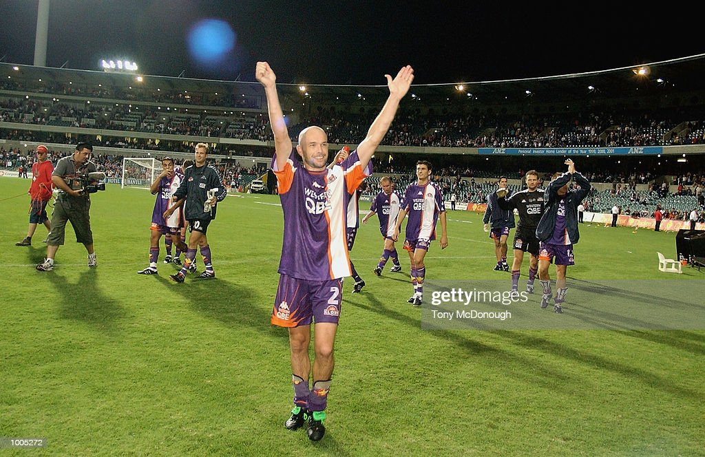 Matt Horsley #2 for the Glory leads his team from the oval after defeating Newcastle United 4-1 during the major semi-final first leg between Perth Glory 4 v Newcastle United 1, played at the Subiaco Oval. DIGITAL IMAGE Mandatory Credit:Tony McDonough/Getty Images