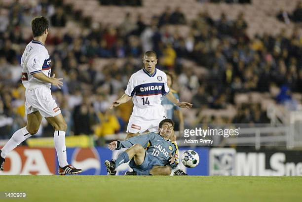 dce15124501 Mauricio Cienfuegos of the Los Angeles Galaxy and Chris Armas of the  Chicago Fire clash as