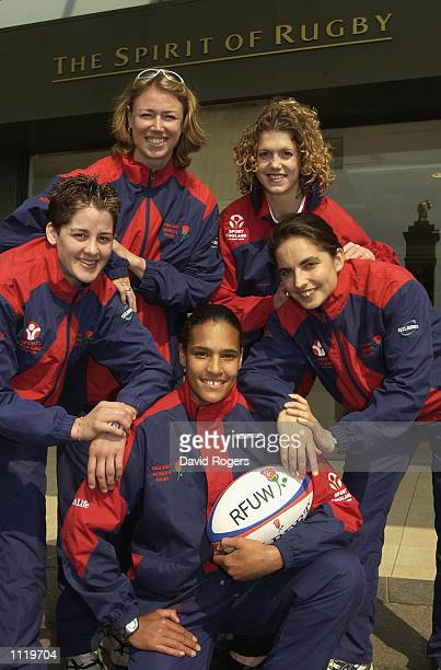 Members of the England Women's rugby team Shirley Rae Jenny Sutton Paula George Nicki Jupp and Sue Day at the England World Cup squad announcement at...