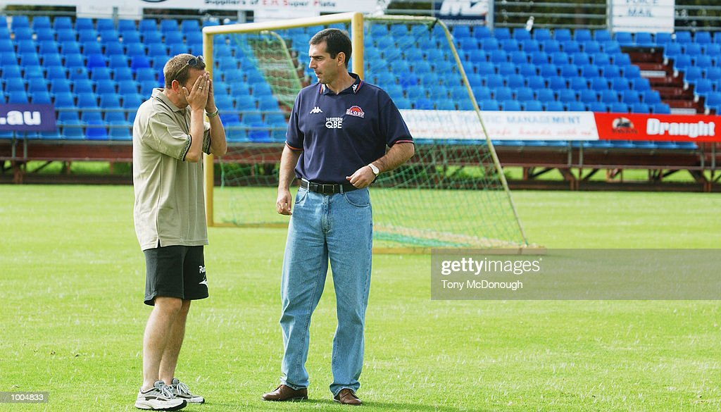 Mich d''Avray Glory coach (right) and Newcastle United Coach Ian Crook at the Perth Oval in Perth , Western Australia before their finals match at the Subiaco Oval tomorrow between the Perth Glory and Newcastle United.DIGITAL IMAGE. Mandatory Credit: Tony McDonough/Getty Images