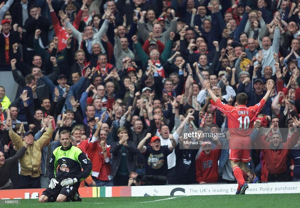 Michael Owen of Liverpool celebrates after scoring the second goal during the Liverpool v Derby County FA Barclaycard Premeirship match at Anfield, Liverpool. Mandatory Credit: Michael Steele/Getty Images