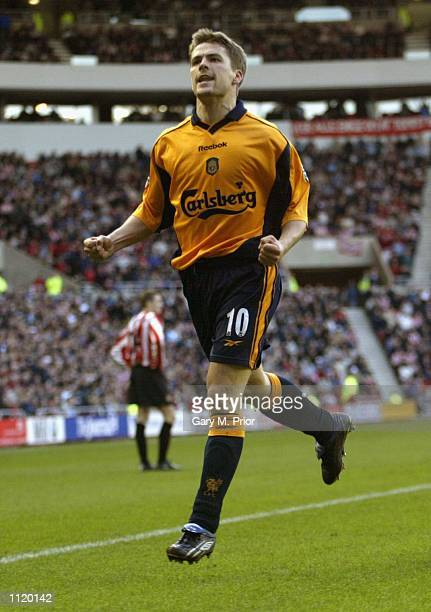 Michael Owen of Liverpool celebrates scoring during the match between Sunderland and Liverpool in the FA Barclaycard Premiership at The Stadium of...