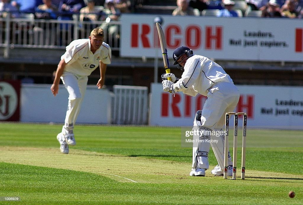 Michael Powell of of Warwickshire watches a delivery from Peter Martin of Lancashire go behind during the Frizzell County Championship match between warwickshire and Lancashire at Edgbaston, Birmingham. DIGITAL IMAGE Mandatory Credit: Mike Finn Kelcey/Getty Images