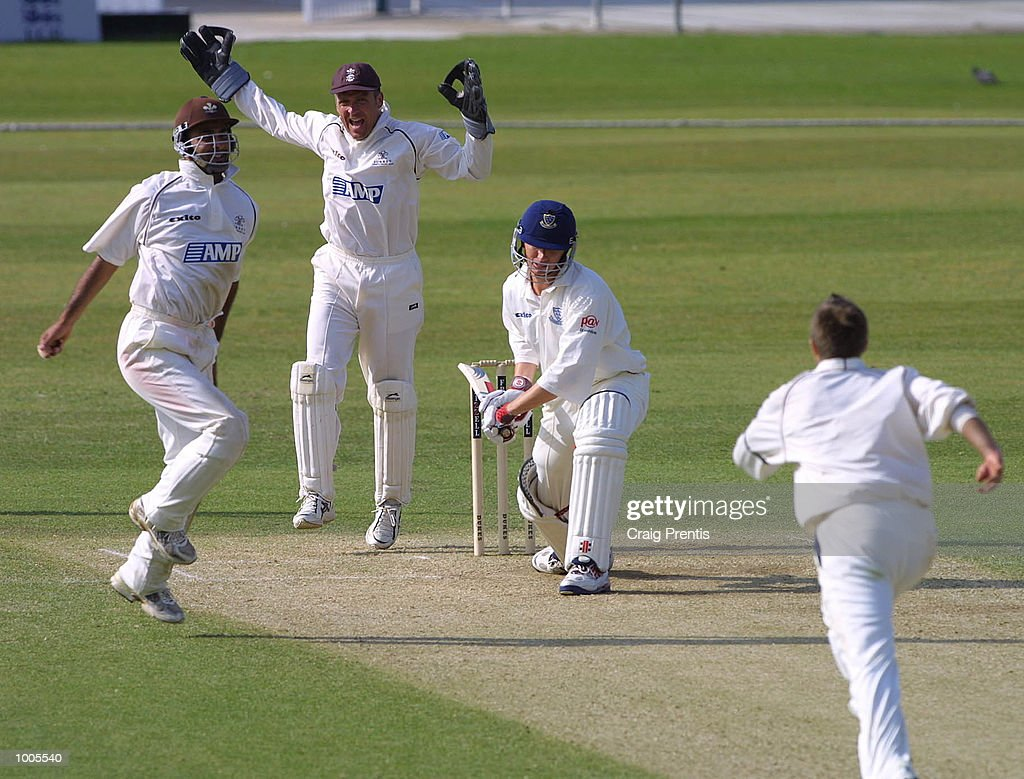 Nadeem Shahid of Surrey [left] celebrates with Alec Stewart after taking the catch off the bowling of Ian Salisbury to dismiss Mark Davis of Sussex on the third day of the Frizzell County Championship match between Surrey and Sussex at theOval, London. DIGITAL IMAGE. Mandatory Credit: Craig Prentis/Getty Images