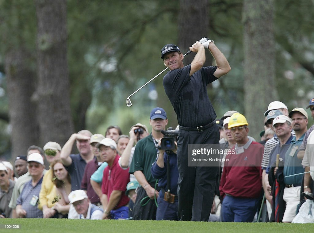 Nick Faldo of England plays his second shot on the first hole during the third day of the Masters Tournament from the Augusta National Golf Club in Augusta, Georgia. DIGITAL IMAGE. EDITORIAL USE ONLY Mandatory Credit: Andrew Redington/GettyImages
