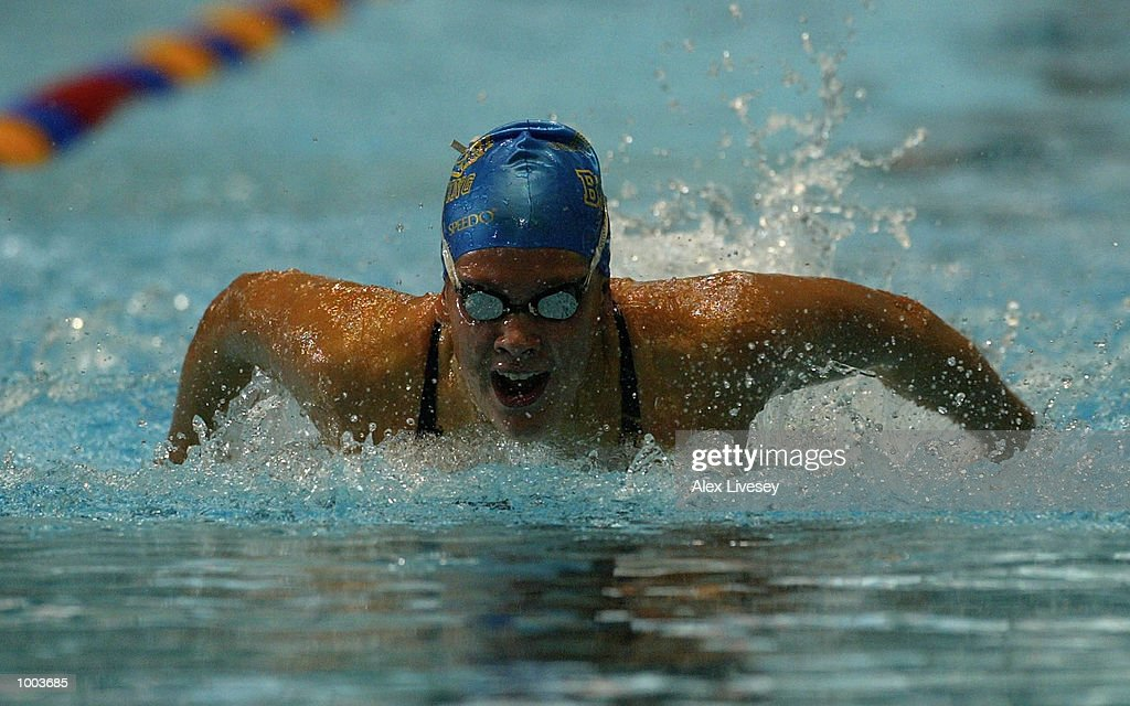 Nicola Jackson in action during the heats for the Womens 100m Butterfly at the British Long Course Swimming Championships held at the Manchester Aquatics Centre. DIGITAL IMAGE. Mandatory Credit: Alex Livesey/Getty Images