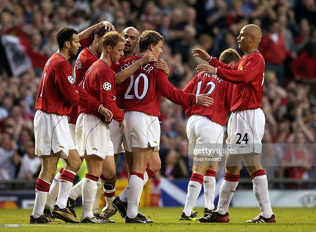 Ole Gunnar Solskjaer of Man UtdCelebrates with Wes Brown after scoring the first goal during the Manchester United v Bayer Leverkusen UEFA Champions League Semi Final, First Leg match from Old Trafford, Manchester. DIGITAL IMAGE Mandatory Credit: Ross Kinnaird/Getty Images