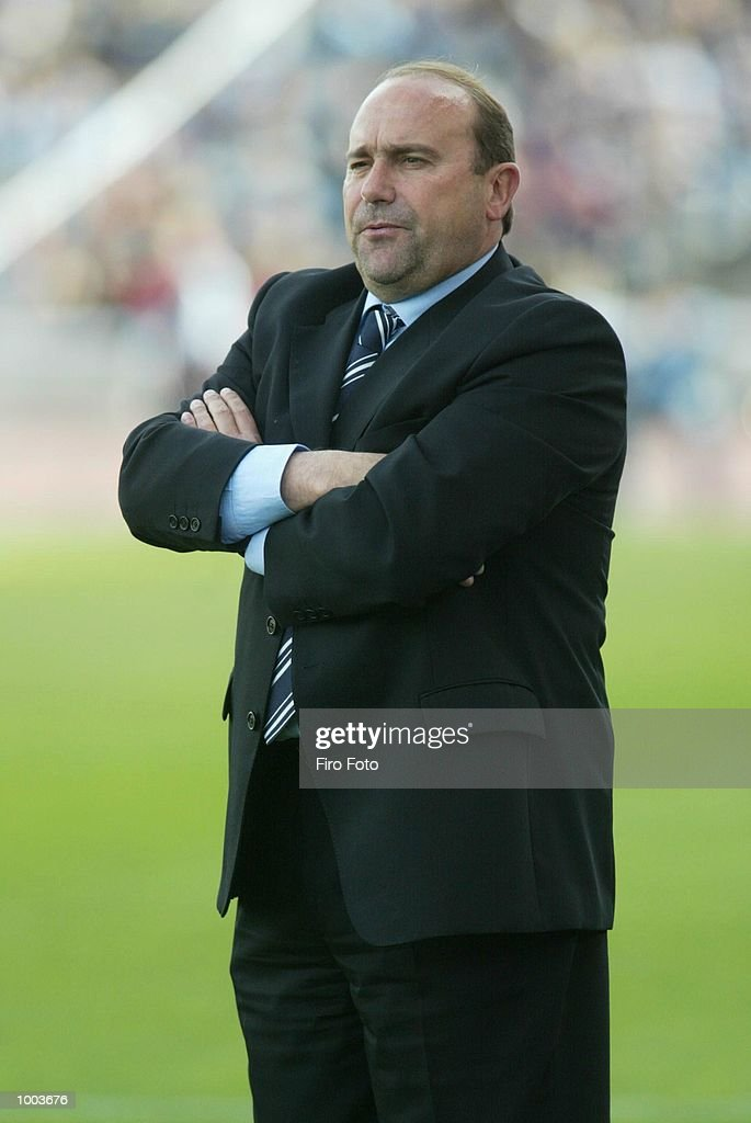 Paco Flores, coach of Espanyol, watches the action during the Primera Liga match between Espanyol and Celta Vigo, played at the Olympic de Montjuic Stadium, Barcelona. DIGITAL IMAGE. Mandatory Credit: Firo Foto/Getty Images