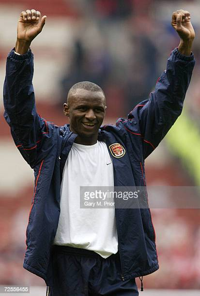 Patrick Vieira of Arsenal celebrates victory in the AXA sponsored FA Cup Semifinal match between Middlesbrough and Arsenal at Old Trafford in...