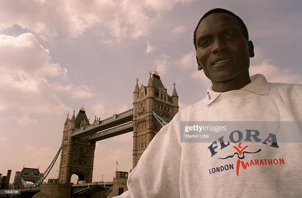 Paul Tergat of Kenya poses in front of Tower Bridge during a press conference for the Flora London Marathon held at Tower Bridge, London. Mandatory Credit: Warren Little/Getty Images