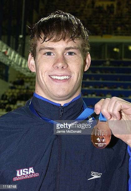 Peter Marshall of USA wins bronze in the mens 100m backstroke final during the FINA World Swimming Championships at the Olympiisky Swimming Pool...