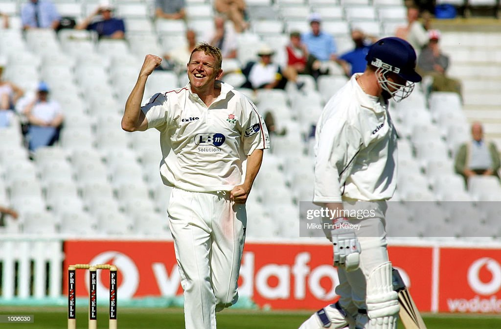 Peter Martin of Lancashire celebrates after dismissing Jim Troughton of Warwickshire during the Frizzell County Championship match between Warwickshire and Lancashire at Edgbaston, Birmingham. DIGITAL IMAGE Mandatory Credit: Mike Finn Kelcey/Getty Images