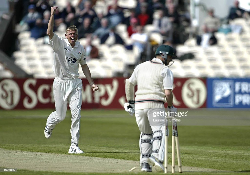 Peter Martin of Lancashire celebrates his first wicket of the season, bowling Robert Cunliffe of Leicestershire during the Frizzell County Championship game between Lancashire and Leicestershire at Old Trafford, Manchester. DIGITAL IMAGE. Mandatory Credit: Laurence Griffiths/Getty Images