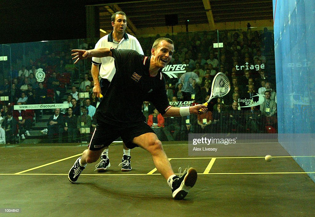 Peter Nicol of England in action during his victory over John White of Scotland in the Mens Final of the British Open at the Commonwealth Stadium, Manchester. DIGITAL IMAGE. Mandatory Credit: Alex Livesey/Getty Images