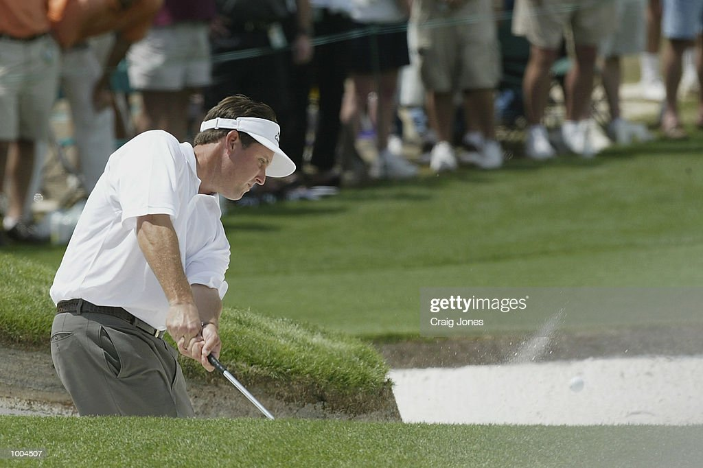 Phil Mickelson of the USA plays his third shot out of the bunker on the second hole during the final round of the Masters Tournament from the Augusta National Golf Club in Augusta, Georgia. DIGITAL IMAGE. EDITORIAL USE ONLY Mandatory Credit: Craig Jones/Getty Images