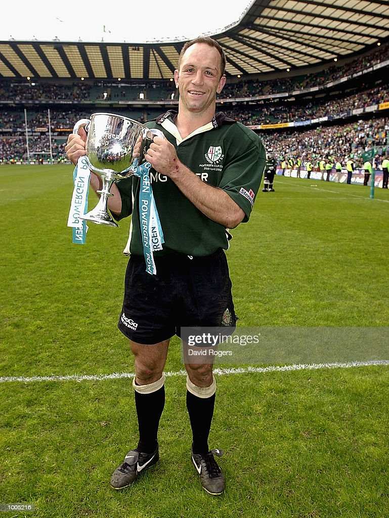 Player/coach Brendan Venter of London Irish celebrates winning the Powergen Cup Final between Nothampton Saints and London Irish at Twickenham, London. DIGITAL IMAGE Mandatory Credit: Dave Rogers/Getty Images