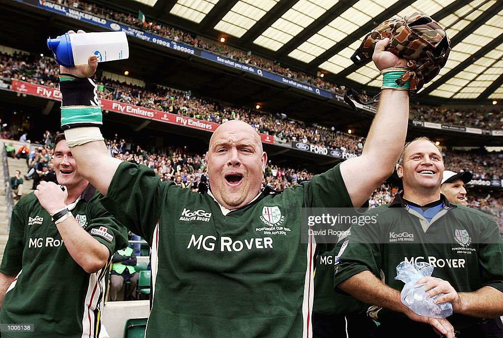 Prop Rob Hardwick of London Irish celebrates winning the Powergen Cup Final between Nothampton Saints and London Irish at Twickenham, London. DIGITAL IMAGE. Mandatory Credit: Dave Rogers/Getty Images