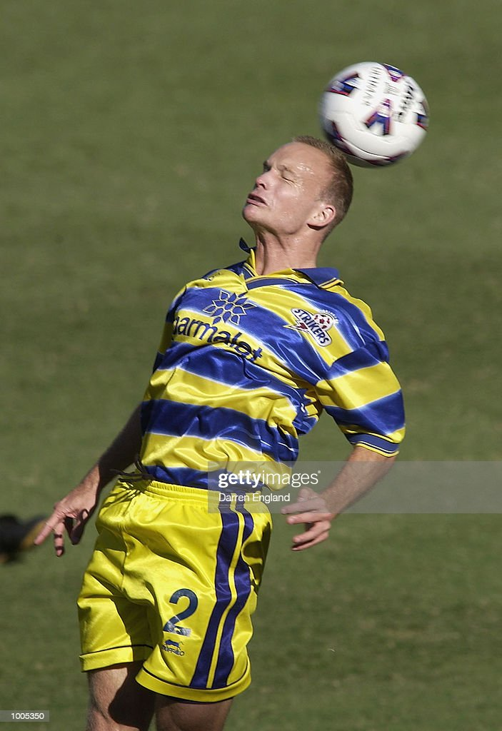 Richie Alagich #2 of Brisbane in action against South Melbourne during the NSL second leg of the Elimination Final series played between the Brisbane Strikers and South Melbourne played at Ballymore in Brisbane, Australia. DIGITAL IMAGE. Mandatory Credit: Darren England/Getty Images