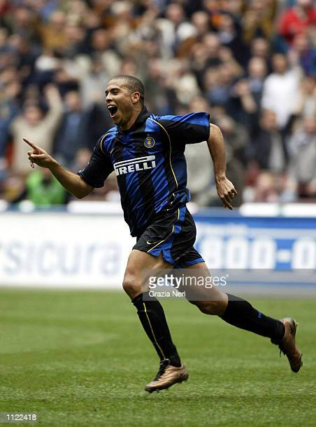 Ronaldo of Inter Milan celebrates scoring during the Serie A match between Inter Milan and Piacenza played at the Giuseppe MeazzaStadium San Siro...