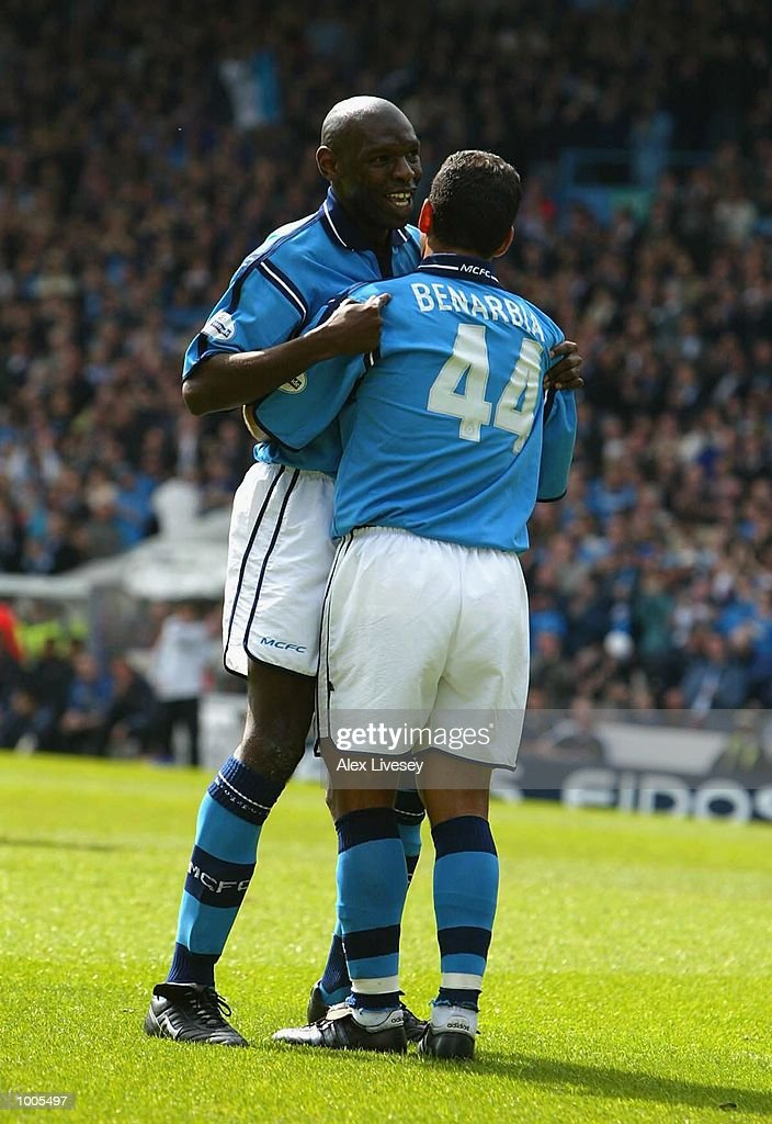 Shaun Goater of Man City celebrates his goal with Ali Benarbia during the Nationwide Division One match between Manchester City and Portsmouth at Maine Road, Manchester. DIGITAL IMAGE. Mandatory Credit: Alex Livesey/Getty Images