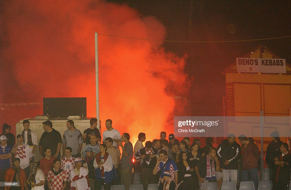 Soccer fans light flares during the NSL Elimination Final between the Olympic Sharks and the Melbourne Knights held at Toyota Park, Sydney, Australia. DIGITAL IMAGE. Mandatory Credit: Chris McGrath/Getty Images