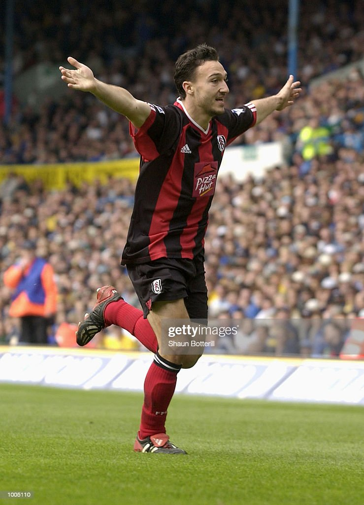 Steed Malbranque of Fulham celebrates after scoring during the Leeds United v Fulham Barclaycard Premiership match played at Elland Road, Leeds. DIGITAL IMAGE Mandatory Credit: Shaun Botterill/Getty Images