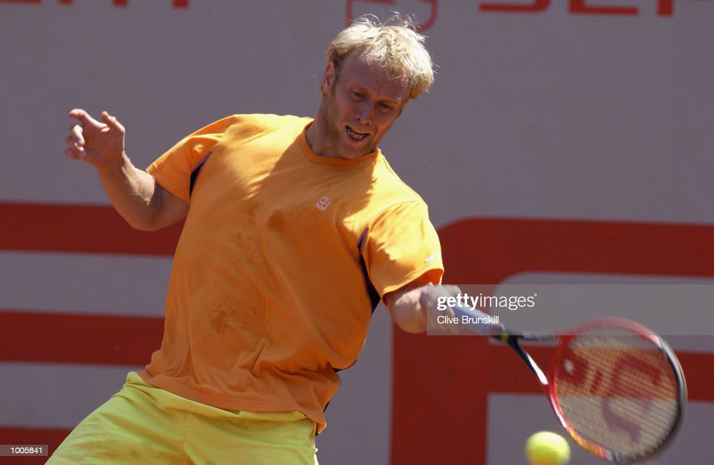 Stefan Koubek of Austria plays a forehand during his first round match against Nicolas Lapentti of Ecuador during the Open Seat Godo 2002 held in Barcelona, Spain. DIGITAL IMAGE Mandatory Credit: Clive Brunskill/Getty Images