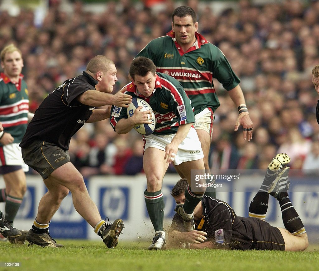 Steve Booth of Leicester is stopped by the Newcastle defence during the Zurich Premiership match between Leicester Tigers and Newcastle Falcons at Welford Road, Leicester. DIGITAL IMAGE Mandatory Credit: Dave Rogers/Getty Images